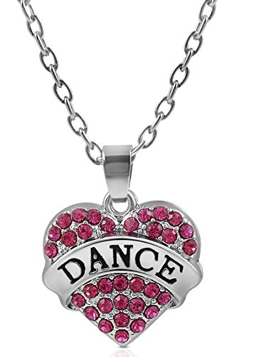 [Small Silver Tone and Fuchsia/Pink Crystal Heart Shaped