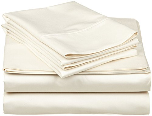 BEDIFY 600 Thread Count Long Staple Soft Single Ply 100% Egyptian Cotton Queen Extra Deep Pocket Sateen Weave Soft Luxury 4 Pc Sheet Set Solid Color Sheet Set for Home & Hotel (Ivory, Queen)