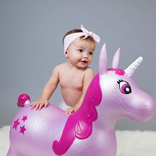 WADDLE Favorite Pink Unicorn Toy Space Hopper Ride On Large Inflatable Animal Kids Riding Bouncy Horse for Girls Twilight Sparkle Magical Pony Interactive for Toddlers and Children Gift Idea by WADDLE (Image #6)