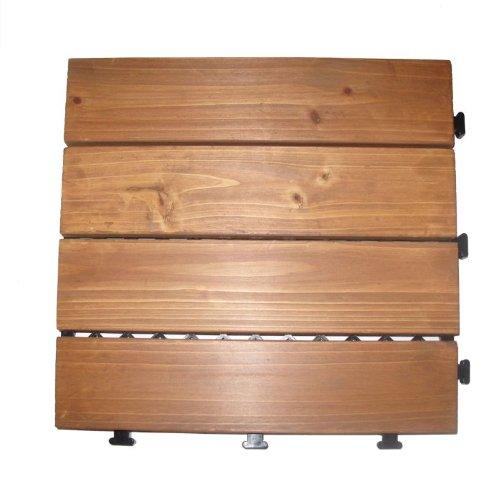 Deck 'n Go Solid Fir Wood Interlocking Flooring Tiles, (Pack of 8), 12