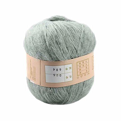 Celine lin One Skein Soft&Warm Angola Mohair Cashmere Wool Knitting Yarn 50g,Light (Grey Mohair)