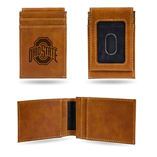Rico Industries NCAA Ohio State Buckeyes Laser Engraved Front Pocket Wallet, Brown