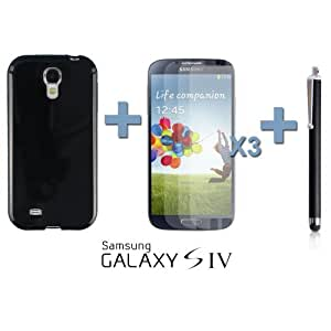 OnlineBestDigital - Colorful Soft Gel Case for Samsung Galaxy S4 IV I9500 / I9505 - Black with 3 Screen Protectors and Stylus