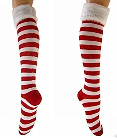 Amazon.com: Christmas Holiday Red & White Striped Socks with Faux ...