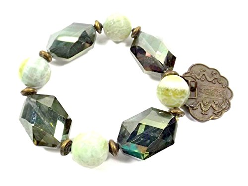 Green Bracelet - Green Agate and Crystal Antigue Bronze Charm Bracelet - Gift or Her - Present for Woman