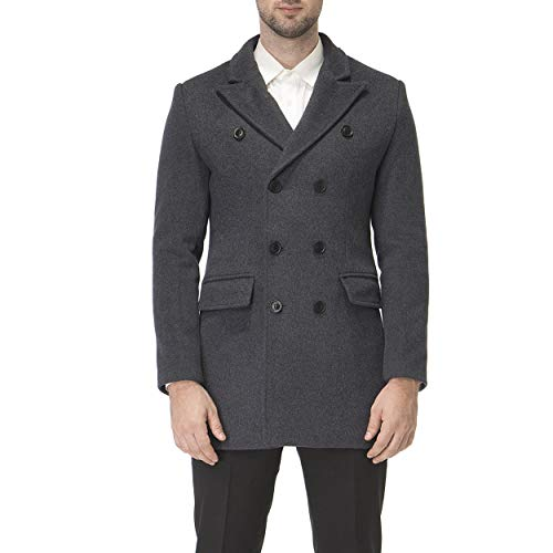 - HXW.GJQ Men's Classic Wool Blend Double Breasted Long Pea Coat (Charcoal, 2X-Large)