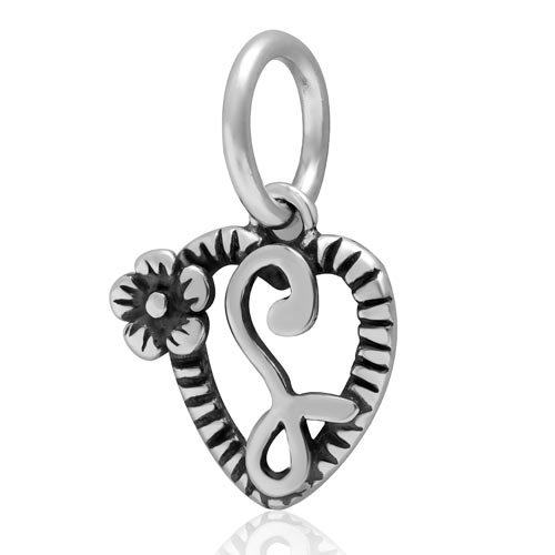 Silver Bead Sterling Initial (Letter Initial A-z Dangle Alphabet Bead 925 Sterling Silver Flower on Heart Charms fit for DIY Charm Bracelet & Necklace (L))
