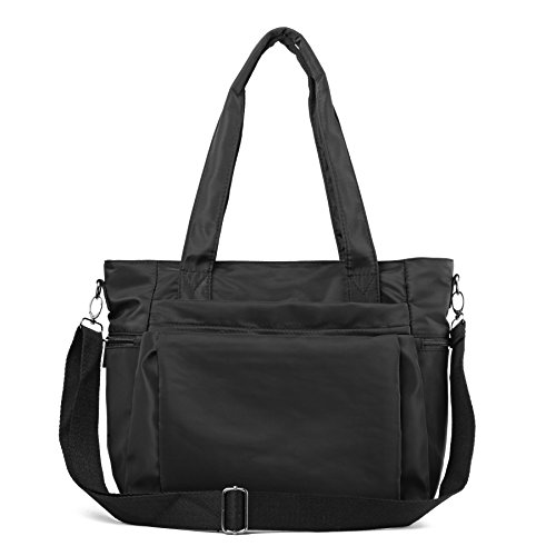 ZOOEASS Men Women Fashion Large Tote Shoulder Handbag Waterproof Multi-function Nylon Travel Messenger Bags (Black-large) ()