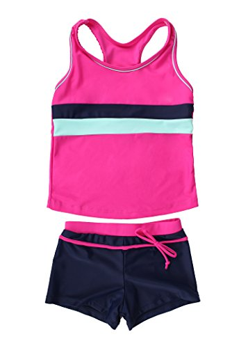JerrisApparel Little Girls' Summer Two Piece Boyshort Tankini Kids Swimsuit (8-9/Tag Size 2XL, Rose)