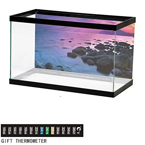 bybyhome Fish Tank Backdrop Coastal,Sunset Over Rocky Coast,Aquarium Background,48