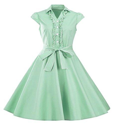 Jaycargogo Style Hepburn Femmes Couleur Unie Robe D'une Ligne De Robes Midi Swing Avec Ceinture Feu Vert