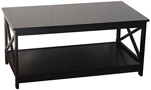 Espresso Finish X Design Wooden Cocktail Coffee Table Shelf