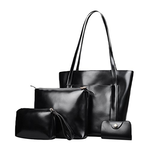 Wax Black Pcs Bag Faux 4 Messenger Handbag Women Tote Leather Set Purse Color Card Oil Solid Kairuun p70wtqxaw