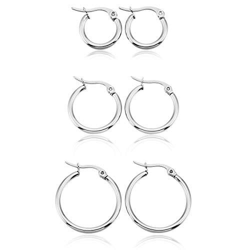 MOWOM Silver Tone Stainless Steel Hoop huggie Earrings Classic Charm Elegant (3 Pairs)