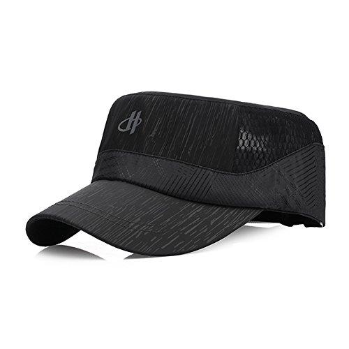 Quick Dry Flat Top Cadet Army Cap - Sports Mesh Breathable UV Protection Sun Visor Hat - Outdoor Adjustable Military Style Baseball Caps Trucker Hats - Men & Women (black)