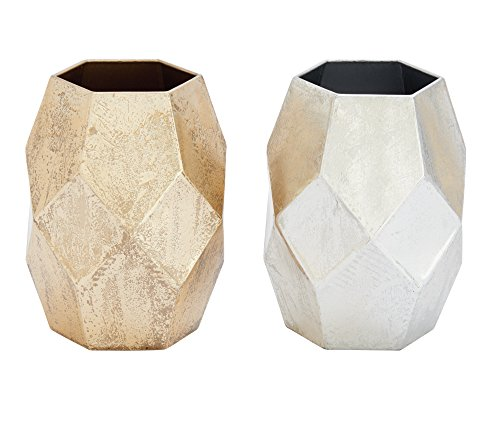 Amazon.com: Deco 79 ly Modern Faceted Metal Vases, 7