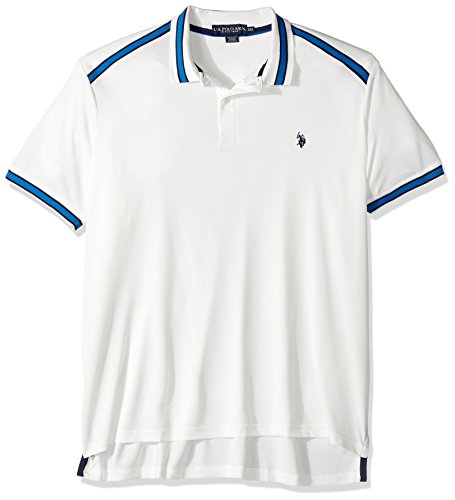 U.S. Polo Assn. Men's Classic Fit Solid Short Sleeve Poly Pique Polo Shirt, 8354-White Winter, L