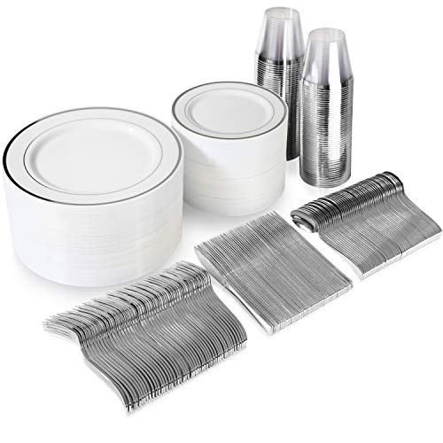 600 Piece Silver Dinnerware Set - 200 White and Silver Plastic Plates - Set of 300 Silver Plastic Silverware - 100 Silver Plastic Cups - Silver Dinnerware Set for Party or Wedding up to 100 Guests (Napkin Up Set)