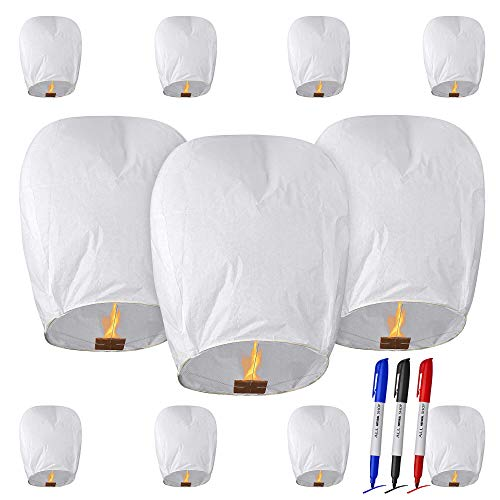 All Natural Shop 11 Pack White Chinese Sky Lanterns to Release in Sky - Eco Friendly, 100% Biodegradable. Wire-Free Paper Japanese Prime Lantern -