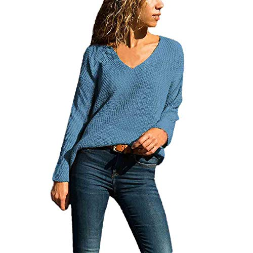 Aniywn Women's V-Neck Lightweight Knit Pullover Tops Casual Pure Color Ladies Long Sleeve Sweater Blouse Shirt Blue (Best Clothing Websites For Guys)