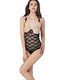 Blidece Women's Lace Pearl Open Cup Crotchless One-piece Teddy Sexy Lingerie