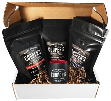 Whiskey & Rum Barrel Aged Coffee Gift Set With Mug - Flavored Coffee Gifts by Cooper's Cask - Premium, Single Origin Coffee Beans Paired With Award Winning Rum & Whiskey - 12oz (three 4 oz Bags) + Mug