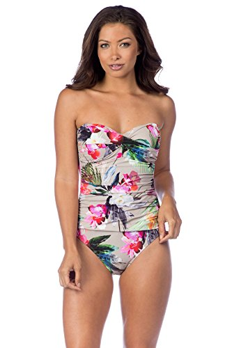 La Blanca Women's Beyond The Jungle Bandeau One Piece Swimsuit, Pebble, 8 by La Blanca