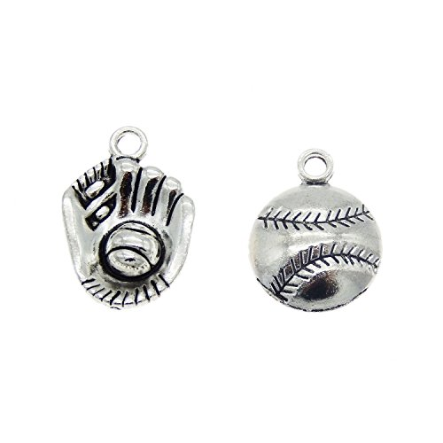 Julie Wang 30pcs Antiqued Silver Softball Glove Charms for Sports Lover ()