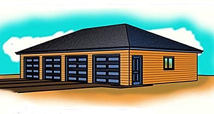 1 story Garage plans Four Car Hip Roof 50 x 30 1500 sf – 50 X 30 Garage Plans