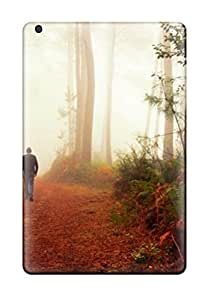 Rugged Skin Case Cover For Ipad Mini/mini 2- Eco-friendly Packaging(a Men With Hat Walking With His Dog In The Wood)
