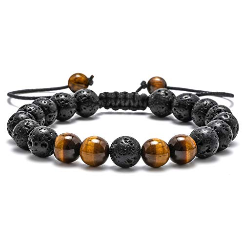 M MOOHAM Natural Bead Bracelet, 8mm Gem Semi Precious Gemstone Round Bead Black Lava Rock and Tiger Eye Beads Bracelet, Men Women Stress Relief Yoga Beads Adjustable Bracelet Energy Stone - Precious Semi Necklace Gemstone