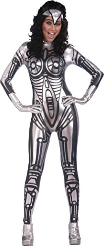 [Halloween Fancy Party Dress Space Costume Outfit Female Robot Jumpsuit Silver] (Female Robot Costumes)