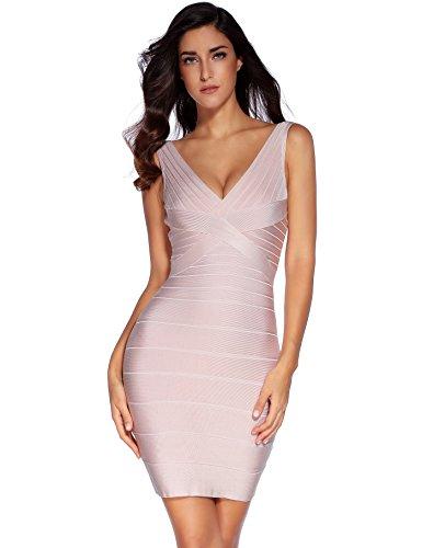 Bandage V scollo Bodycon Partito Donna con Vestito a Rayon Shownice Beige ECzqn