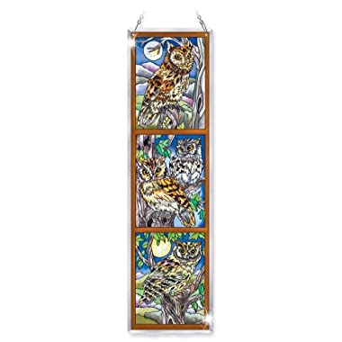 Amia Beveled Glass Triptych Decor Panel Owl Design, 4-1/2 by 16-Inch, Hand-Painted on Glass