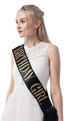Black SatinBirthday Sash with Gold Glitter by Birthdays Gone Wild Birthday Girl Sash