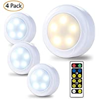 LUNSY Wireless LED Puck Lights, Closet Lights 3AA Battery Operated with Remote Control, Dimmable Kitchen Under Cabinet Lighting, Cool White/Warm White Light - 4 Pack
