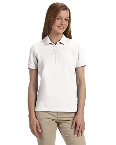Ashworth Womens Clothing - Ashworth 1146C Ladies Combed Cotton Piqu? Polo-Short Sleeve Shirts-Medium-White