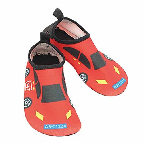Vine Zapatos de piel al aire libre respirable antideslizante de Aqua Agua de bebé unisex del cabrito por Playa Con Surf Yoga Natación, 21.5cm Car