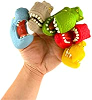 Boley Dino Finger Puppets - 12 Pack Small Dinosaur Hand Puppets for Toddlers, Kids, and Adults - Cartoon Dino