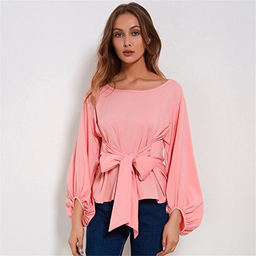 CHIFFON Wrap Blouse Women Shirts Spring Lantern Long Sleeve Blouses With Bow Belt at Amazon Womens Clothing store: