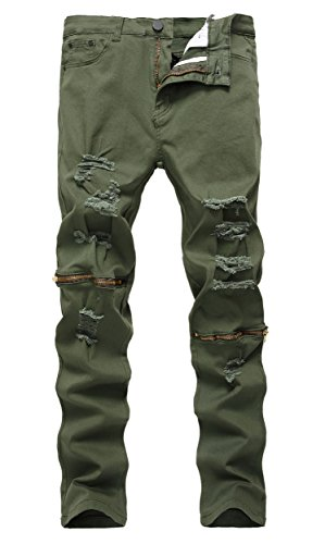 Qazel Vorrlon Men's Army Green Ripped Distressed Destroyed S
