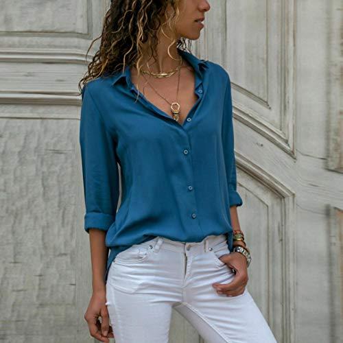 Robe Unie Longues Bleu LUCKYCAT Manches Casual t Manches Chemise Shirt de Couleur Femmes en Longues Coton T CwzqwZt
