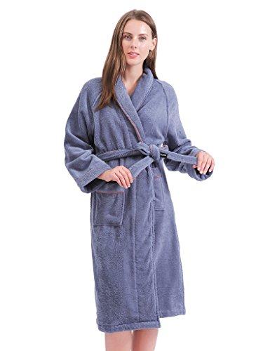 Terry Cotton Cloth Plush Kimono Bathrobe, Soft, Thick, Long Size, Bath Shower Spa Robes for Women M Blue