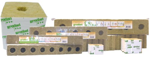 "Grodan Delta 10 Large Rockwool Gro Blocks 4"" X 4 "" X 4 Inch / 1 Case = 24 Strips (144 Blocks Total)"