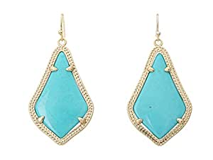 Kendra Scott Signature Alex Earrings Gold Plated and Turquoise Color Magnasite