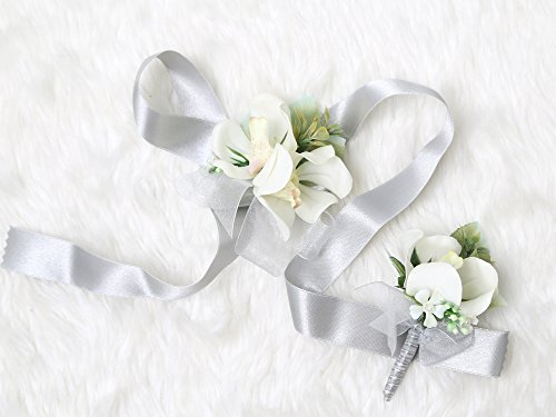 Tropical Wedding Prom Wrist Corsage Mokara Orchids and Boutonniere Set (Grey theme) from Secret Garden
