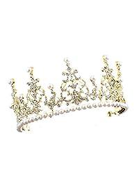 SODIAL(R) 1 Gold + white alloy artificial pearl bride crown bride hair ornament size: high 7.5cm