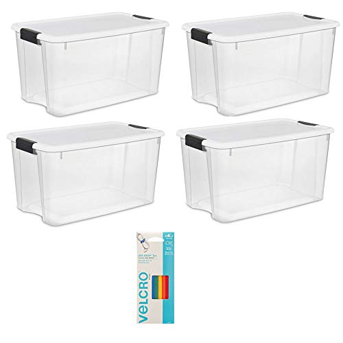 Sterilite 70 Quart Box, 4 Pack Bundled with VELCRO Brand Wire, Cable Ties ()