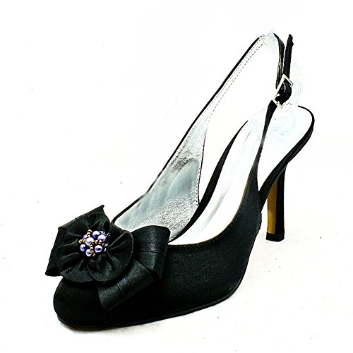 Black satin high heel sling back rounded toe evening shoes with beaded flower
