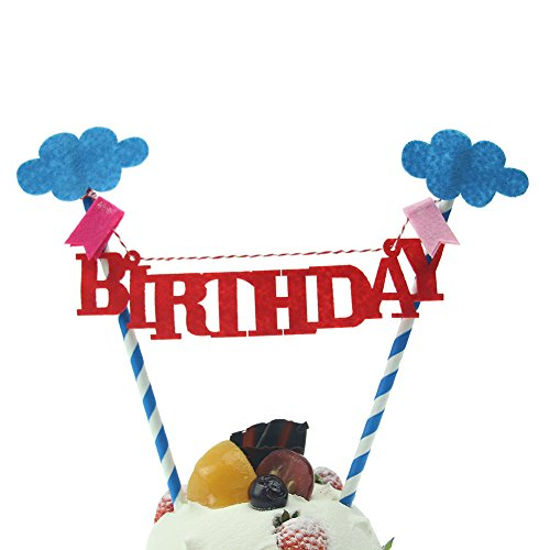 Hangnuo 1 Set DIY Cake Toppers Flags Banner Birthday Cake Flags - Diy Flag
